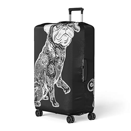 Semtomn Luggage Cover Vintage Beautiful Bulldog Pug Dog Body Decorated in Flash Travel Suitcase Cover Protector Baggage Case Fits 18-22 Inch
