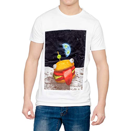 - Fortnite Burger Space White T-Shirt, Medium