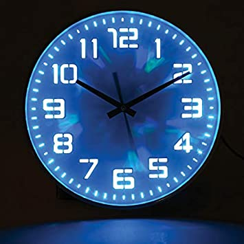 WHAT ON EARTH LED Color Changing Wall Clock – Includes Remote, USB and Wall Charging Cable – 12 Diameter