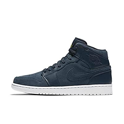Jordan Nike Men's Air 1 Mid Armory Navy/ElectroLime White Basketball Shoe 11.5 Men US