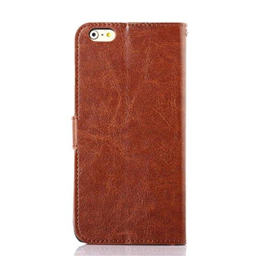 iPhone 6 Hülle,Apple iPhone 6 Hülle (5.5 Zoll) Lifetrut®[Braun] Flip Case mit lebenslanger Garantie + Kartenfächern & Standfunktion