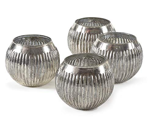 Serene Spaces Living Ribbed Silver Mercury Orbs, Set of 4