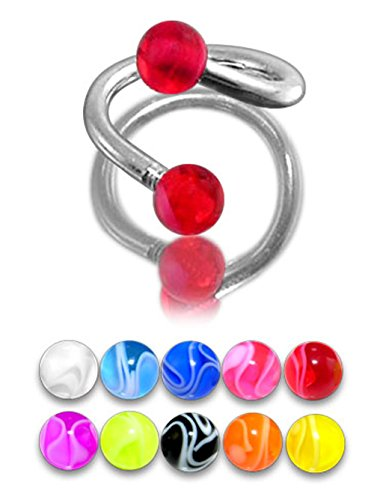5 Pieces Set of UV Fancy Marble Ball with 16 Gauge 316L Surgical Steel Twister Barbell Body Jewelry