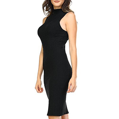 Fashionazzle Women's High Neck Sleeveless Ribbed Sweater Bodycon Midi Dress (Large, Black)