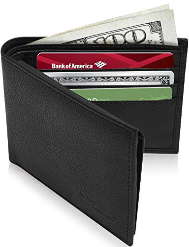 - Slim Leather Bifold Wallets For Men - Minimalist Mens Wallet RFID Blocking Card Holder With ID Window Box Gifts For Men