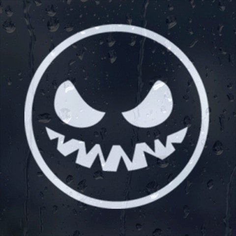Smiley Ghost Car or Laptop Vinyl Decal (External Fitting)