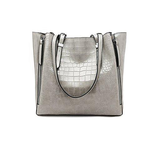 SXELODIE Señoras Bolsos Mujeres Hombro Bandolera Mensajero Tote Bags, PU Cuero Vintage Elegante (L: 28Cm * W: 15Cm * D: 30Cm),Yellow Gray