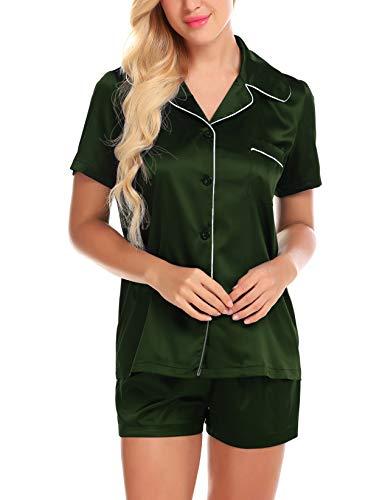 Pj Check Set (Green Pajama Set for Women Satin Night Party Pj Button Sleepwear Check Pyjama S)