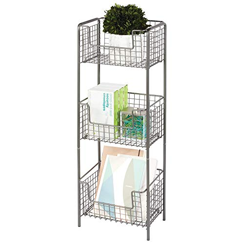 mDesign 3 Tier Vertical Standing Home Office Shelving Unit, Decorative Metal Storage Organizer Tower Rack with 3 Basket Bins for Desk, Office Supplies, Paper, Folders, Notepads - Graphite Gray