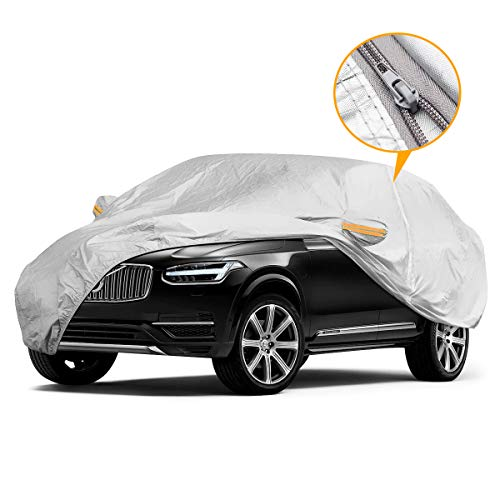 YIBEICO Car Cover for SUV, Waterproof Outdoor SUV Car Cover with a Driver-Side Door Zipper, All Weather Windproof Snow-Proof Dust-Proof Scratch Resistant UV Protection Full Car Cover (191-201) XL