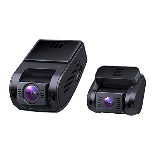 AUKEY Dual Dash Cam, 1080P HD Front and Rear Camera, 6-Lane 170° Wide-Angle Lens, Night Vision, G-Sensor, Dual-Port Car Charger (Cam Port)