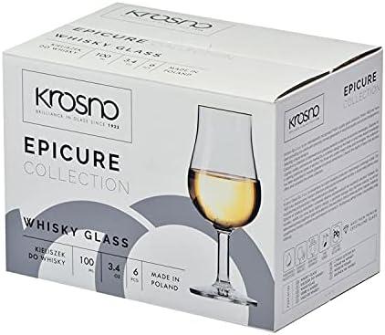 Krosno Vasos Copas de Whisky | Conjunto 6 Piezas | 100 ML | Epicure Collection Uso en Casa, Restaurante y en Fiestas | Apto para Microondas y Lavavajillas