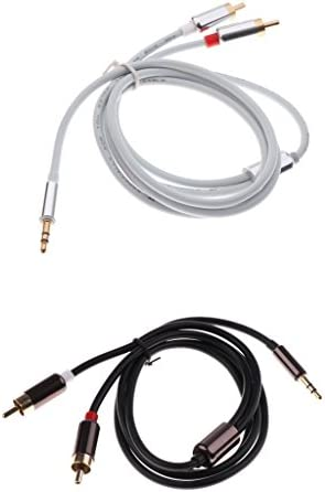 KESOTO 2個3.5mmステレオオスプラグ~2 RCAオーディオオスアダプタケーブル1m
