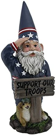 Zeckos Mr. Americana Give a Salute Support Our Troops GI Garden Gnome Statue
