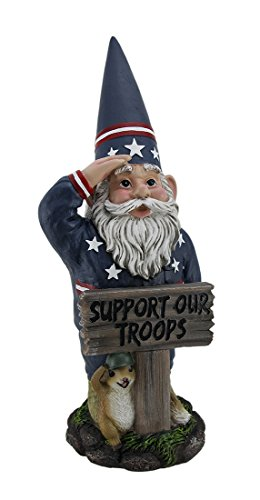 Zeckos Resin Outdoor Statues Mr. Americana Give A Salute Support Our Troops Gi Garden Gnome Statue 7 X 17 X 6 Inches Multicolored
