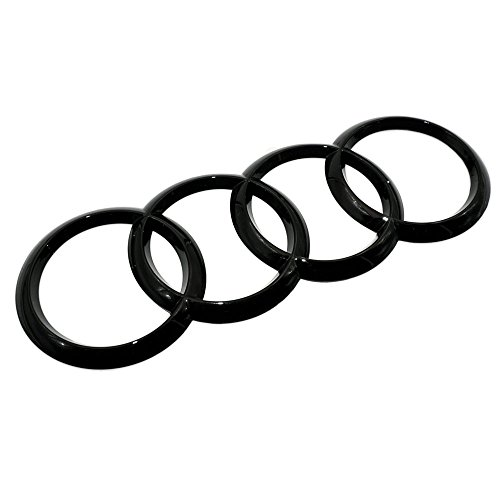 US85 Audi Sport 3D Ring Luggage Lid Adhesive Logo Emblem Badge Sticker Decoration Accessories (Gloss Black)