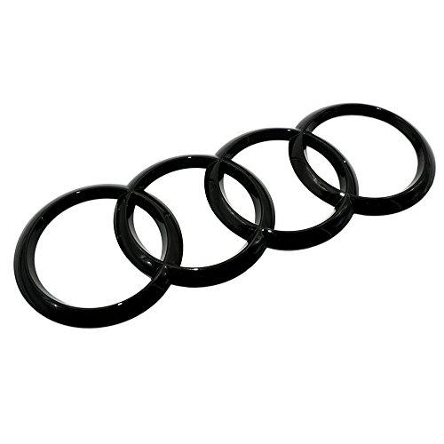 US85 Audi Sport 3D Ring Luggage Lid Adhesive Logo Emblem Badge Sticker Decoration Accessories (Gloss Black) Brushed Aluminum Trim Ring