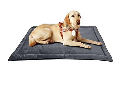 Comforhome Indoor and Outdoor Sleeping Mat Dog Bed Soft Velvet Anti-slip Machine Washable Pad (35 inch by 23 inch, Charcoal) by Comforhome