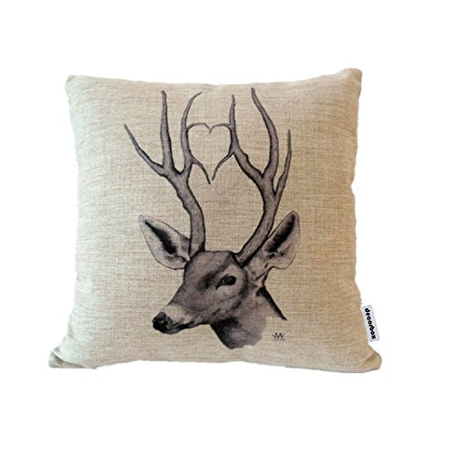 Decorbox Cotton Linen Square Throw Pillow Case Decorative Cushion Cover Pillowcase for Sofa Deer 18