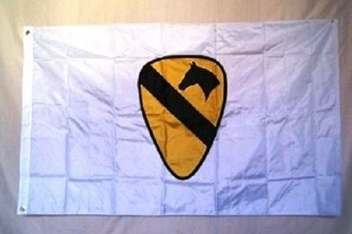 (ALBATROS 3 ft x 5 ft US Army 1st Cavalry White Flag House Banner Ranger Grommets for Home and Parades, Official Party, All Weather Indoors Outdoors)