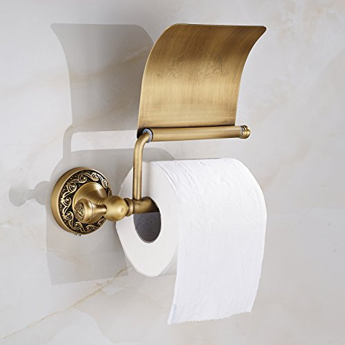 Oulantron Antique Brass Toilet Paper Holder Roll Tissue Import It All