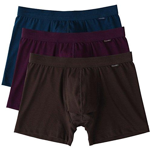 Separatec 3 Pack Men's 120s Long Staple Cotton Separate Pouches Boxer Briefs(S,Dark Blue/Wine/Dark Coffee) (Brief Cotton Classic Tailored)