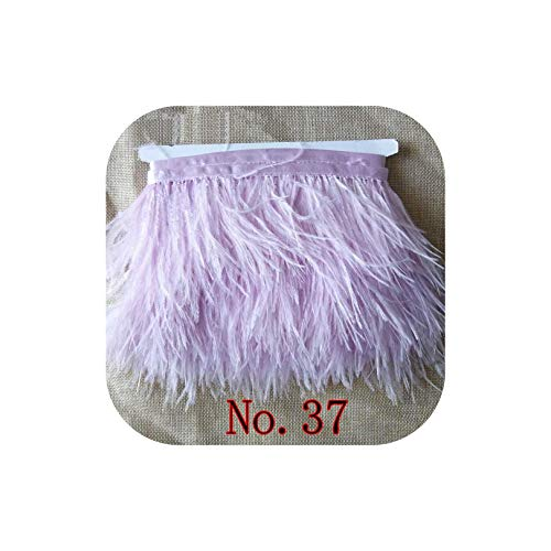 Feather Dusters Dyed Leather Ostrich Feather Fringe Trims 1Yard Per Lot Natural Ostrich Feather Ribbon Trim for Skirt Costume Dress,No.37 Light Purple