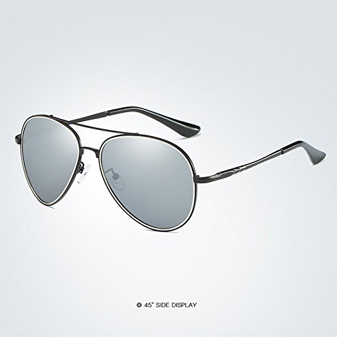 de Metal Color Bisagra 5 Moda de Sol Negro Weichunya 4 de Lens para Sunglasses Spring Hombre Mirror Sol Gafas Pilot Polarized Driver Brand Polaroid Gafas BtnxOwxSU