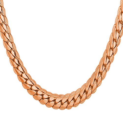 U7 Rose Gold Plated Snake Chain with 18KGP Stamp 6MM Thick Necklace for Men and Women -
