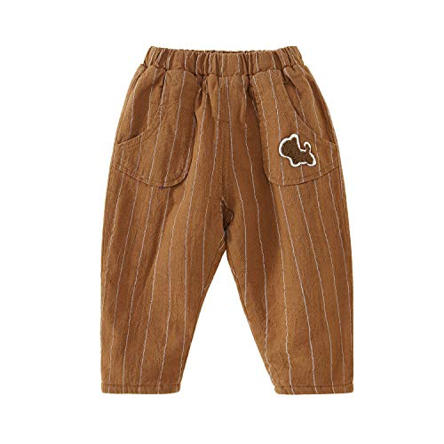 Baby Toddler Kids Fleece-Lined Winter Pants Classic Striped Caramel 3-4 Years ()