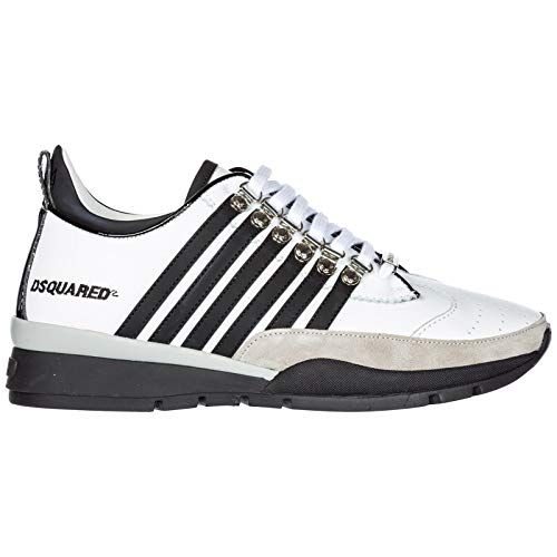 Uomo 251 Dsquared2 Pelle in Sneakers Nuove Bianco Scarpe Y8BrYnT