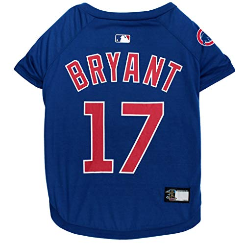 MLBPA Kris Bryant #17 TEE Shirt for Dogs & Cats. MLB Chicago Cubs Dog T-Shirt, Small | Sports Dress for Pets | Licensed Sporty Dog Shirt.