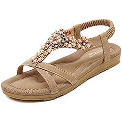 Summer Women's Braided Strap Bohemia Beaded Flat Sandals apricot 9