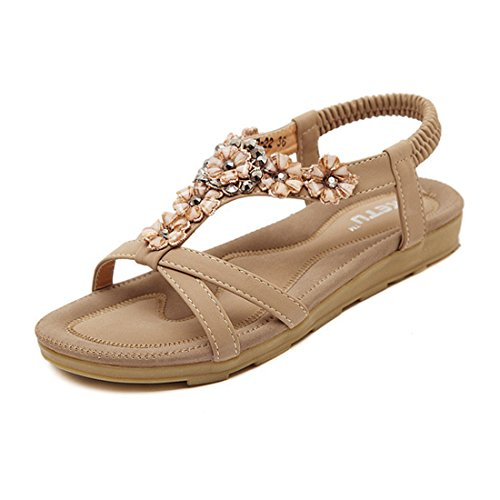 Temofon Summer Women's Sandals Braided T-Strap Gladiator Bohemian Beaded Flower Rhinestone Flat Beach Flip Flop Shoes Apricot (Beaded Gladiator Sandal)