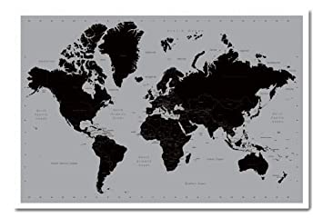 World map poster contemporary black grey style cork pin memo board world map poster contemporary black grey style cork pin memo board white framed 965 gumiabroncs