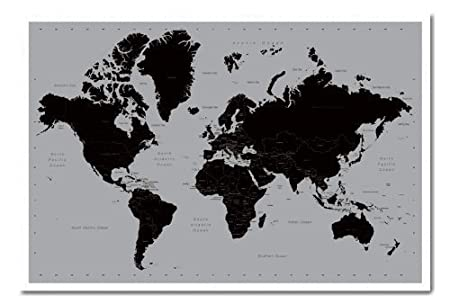 World map poster contemporary black grey style white framed 965 world map poster contemporary black grey style white framed 965 x 66 cms gumiabroncs Images