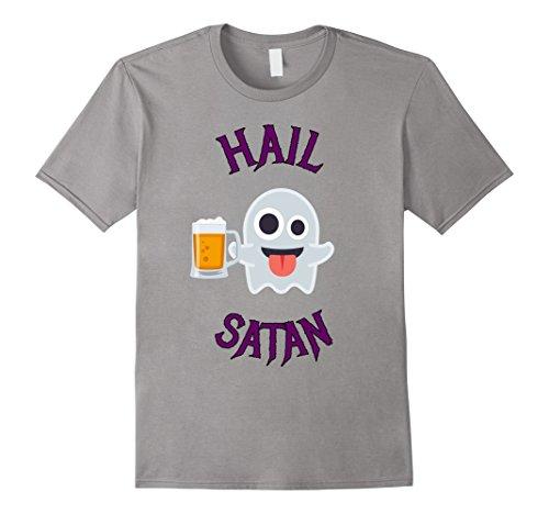 Mens Hail Satan Death Metal Boos Halloween Ghost Tshirt Medium Slate