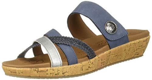 (Skechers Women's Brie-Multi Strap Slide Sandal, Blue 8.5 M US)