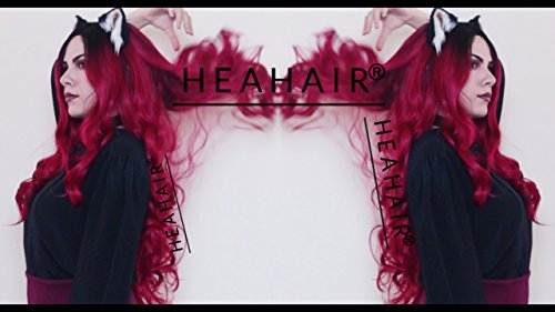 Heahair Sexy New Wave Style Ombre Red Handtied Synthetic Lace front Wig for (Spirit Of Halloween Toronto)