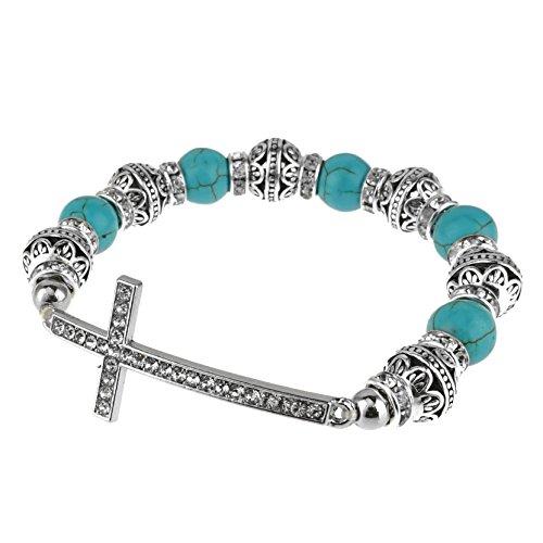 Sideways Curved Cross Stretch Bracelet. (Turquoise Gemstone)