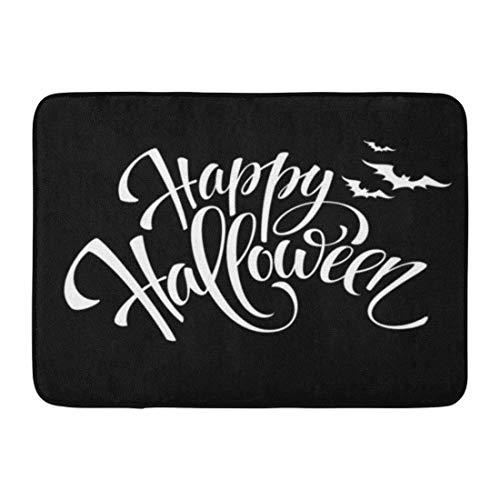 Jugbasee Doormats Bath Rugs Outdoor/Indoor Door Mat Gray Text Happy Halloween Message Pumpkin Party White Black Night Bathroom Decor Rug 16