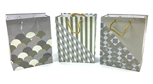 Style Design (TM) Gift Bags (Large, Gold and Silver Design)
