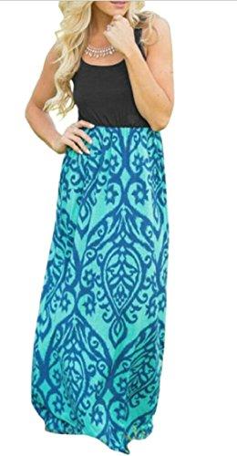 Print Style Jaycargogo Long Green Dress Bohemian Sleeveless Women's Ethnic Maxi Floral wXrWqXEB