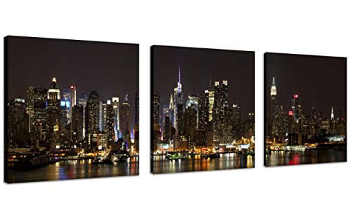 New York Picture Canvas nyc Wall Art Manhattan Night Lights New York City Canvas Wall Art New York Cityscape Canvas Picture Stretched and Framed for Bedroom Wall Decor,3 Panel/Set ()