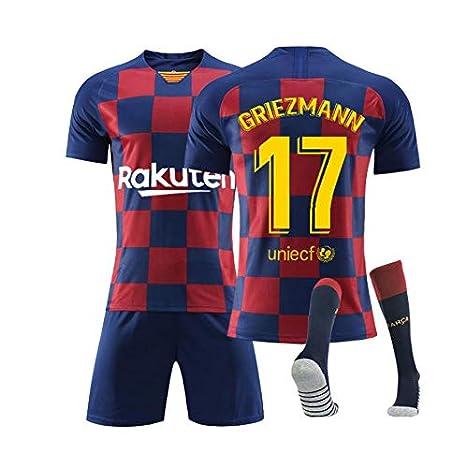 LLMM Maglia Barcelona Maglia da Calcio Maglia Griezmann 17# Jersey Adulto Tuta da Bambino Manica Corta Calze Uniforme da Calcio,16~ Child~15kg//100~110cm Pantaloncini