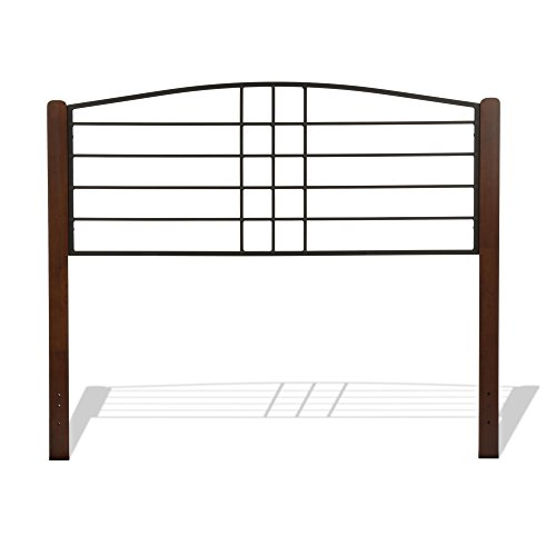 Fashion Bed Group Dayton Metal Headboard Panel with Flat Wood Posts and Sloping Top Rail, Black Grain Finish, Queen Review