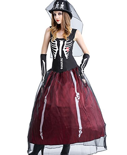 GoLoveY Women's Skeleton Queen Zombie Bride Costume (4-Piece) (Large)