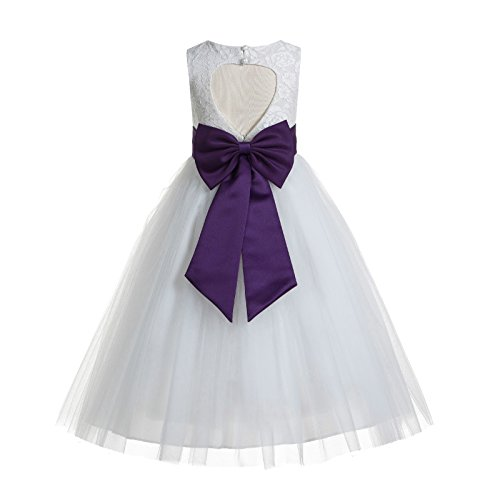 ekidsbridal Floral Lace Heart Cutout White Flower Girl Dresses Purple First Communion Dress Baptism Dresses 172T 4