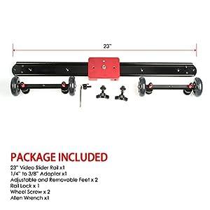 Kamerar SD-1 DSLR DV Camera Track Dolly Slider Video Stabilization System (Black/Red)