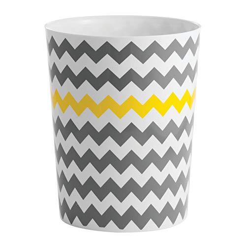 mDesign Cubo de Basura en plastico Papelera de Oficina, en la Cocina o en el bano – Ideal Papelera de diseno Moderna – Diseno en Zigzag - Amarillo/Gris